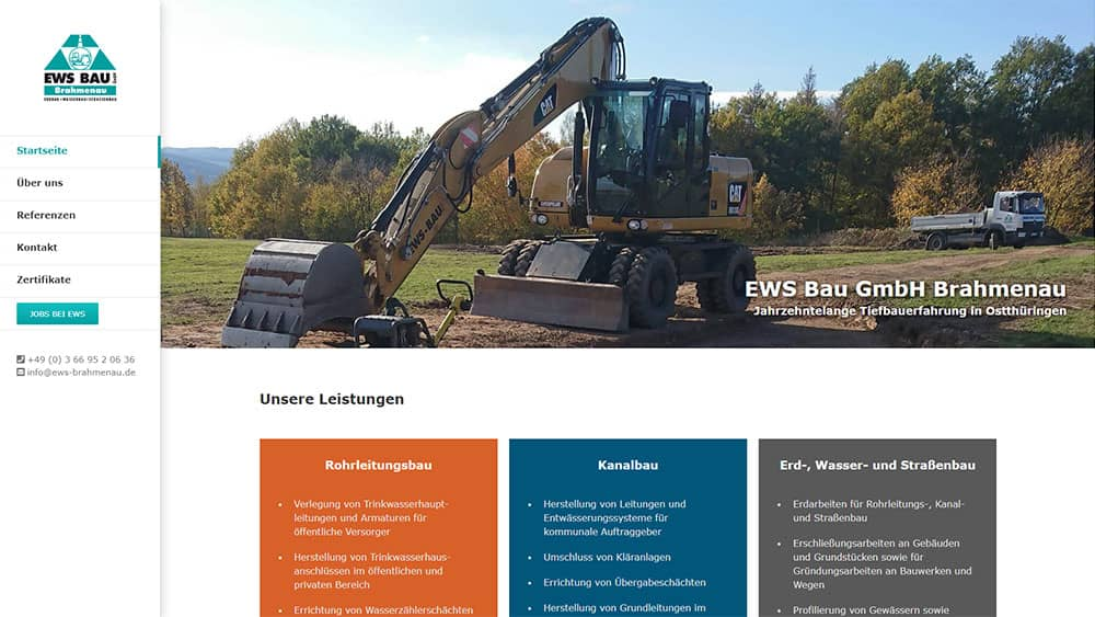 Corporate Webdesign EWS Bau GmbH Brahmenau