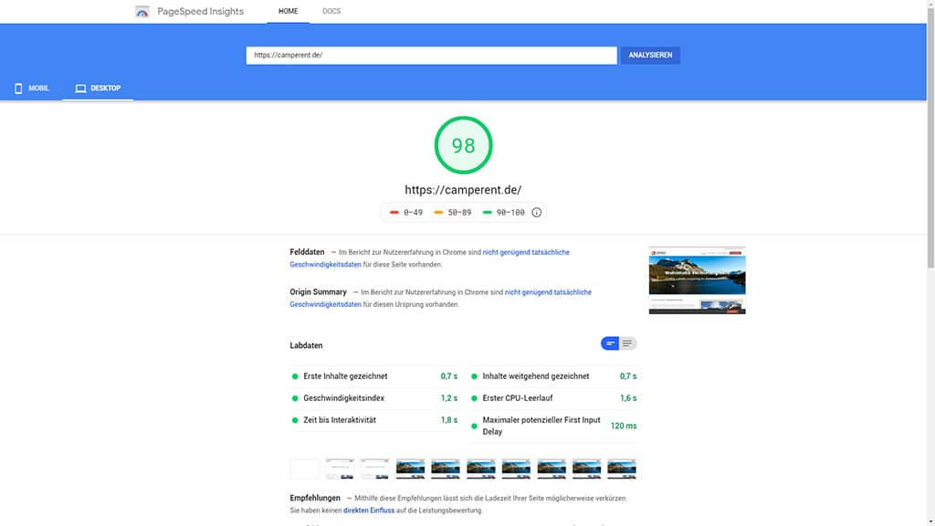 Referenz Pagespeed Optimierung Camperent