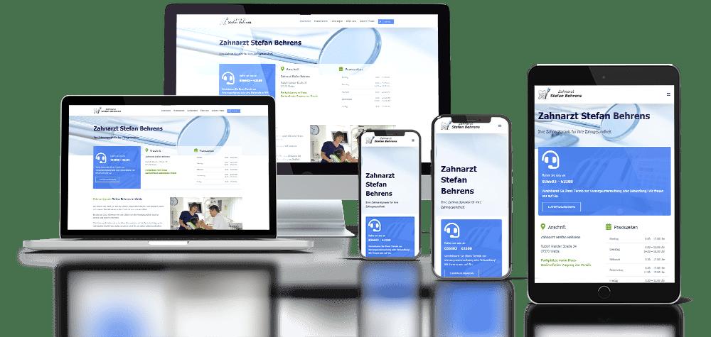 Referenz responsive Relaunch Webdesign Zahnarzt Behrens Weida