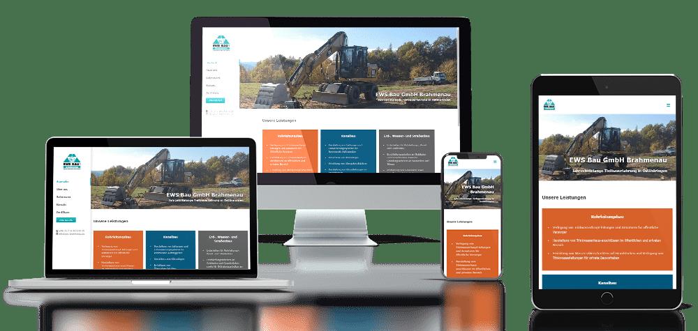 Referenz responsive Webdesign EWS Bau Brahmenau