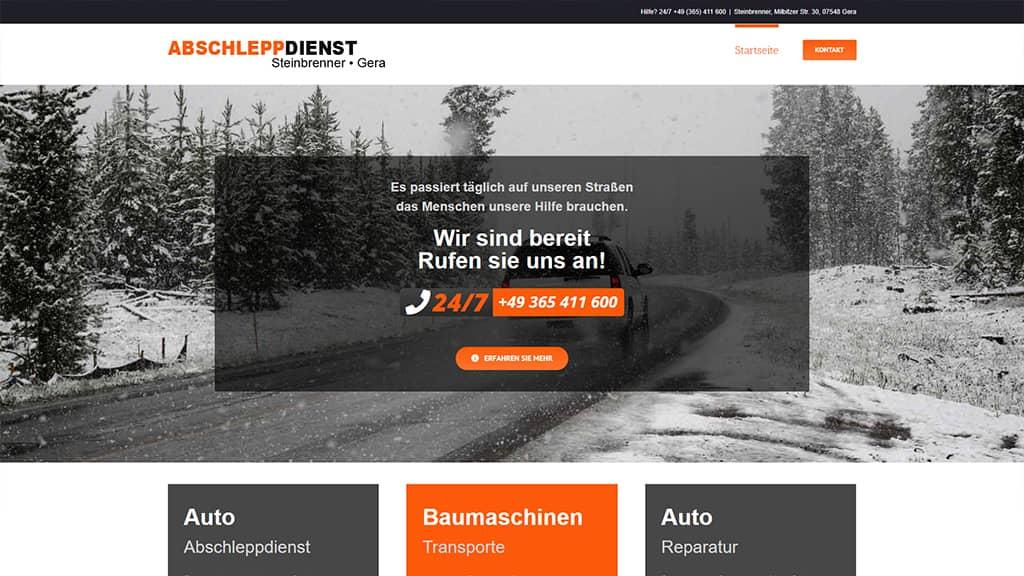 Referenz Webdesign Abschleppdienst Steinbrenner