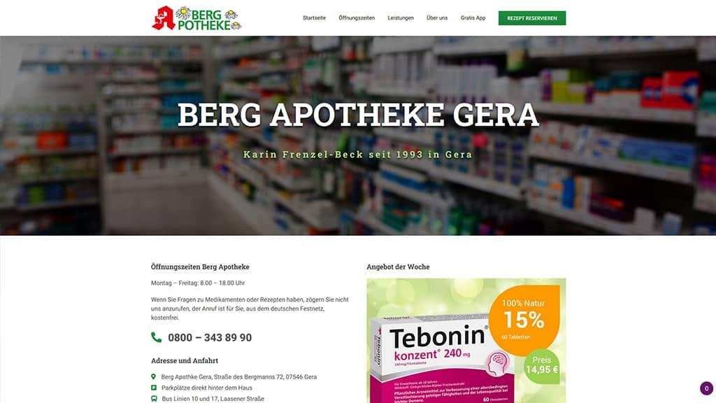 Referenz Webdesign Berg Apotheke Gera