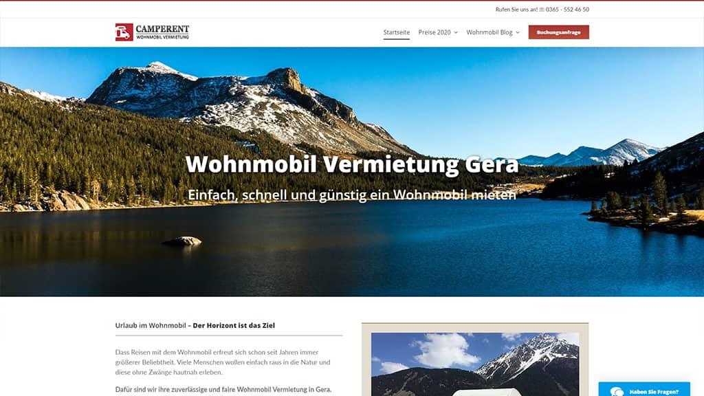 Referenz Webdesign Camperent Wohnmobil Vermietung