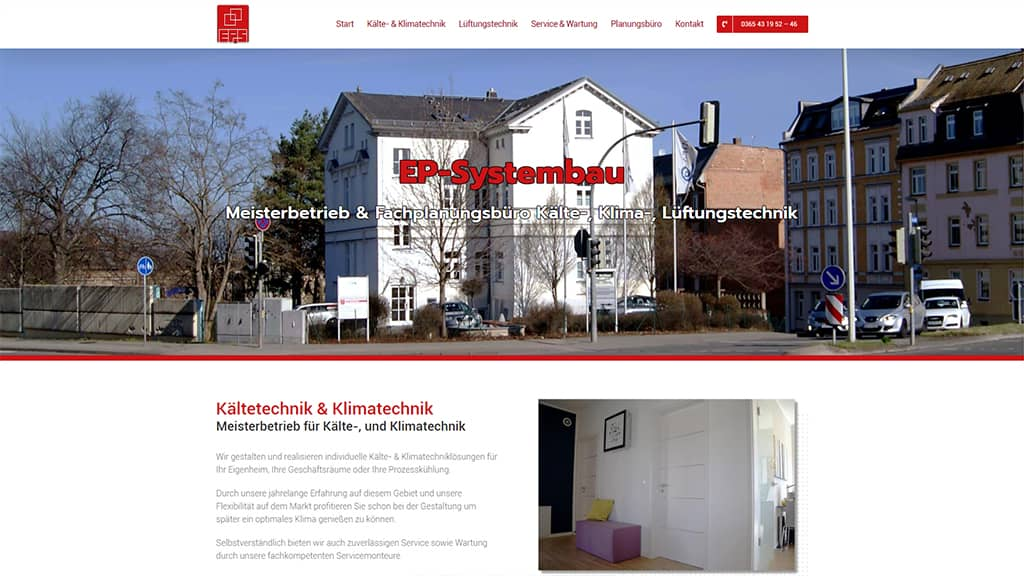 Referenz Webdesign EP Systembau