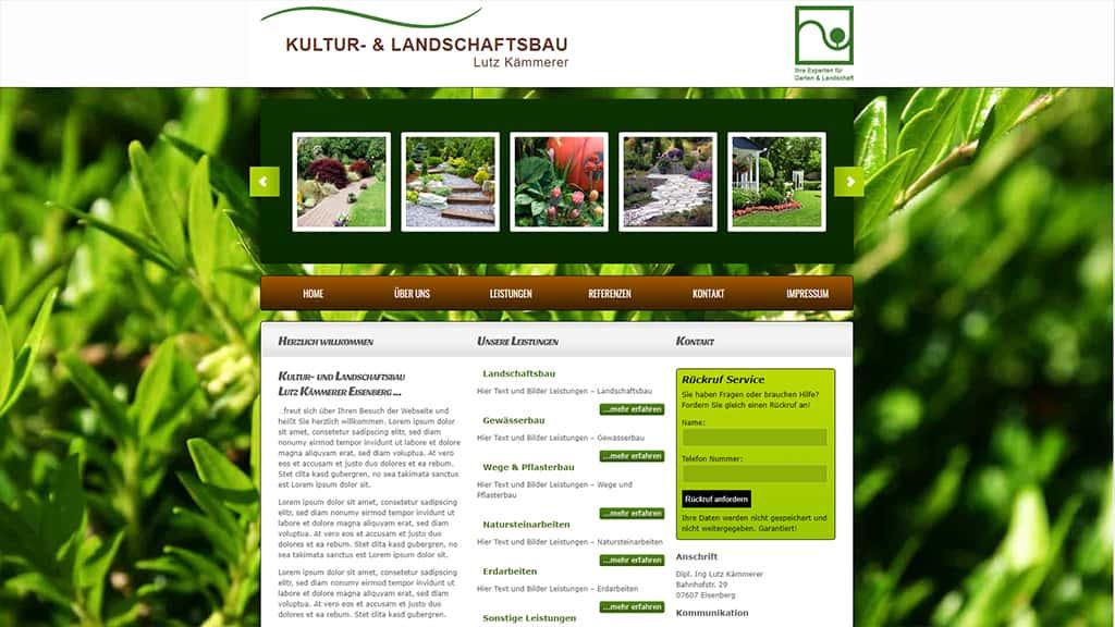 Referenz Webdesign Landschaft und Kulturbau Kämmerer