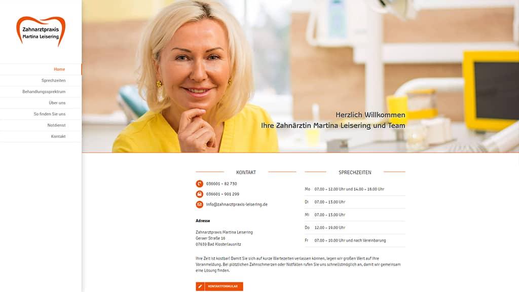 Referenz Webdesign Zahnarztpraxis Leisering