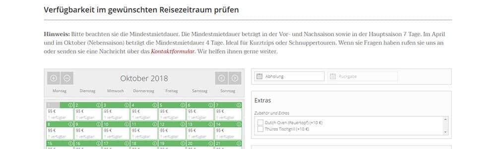 Webdesign Buchungssystem Camperent