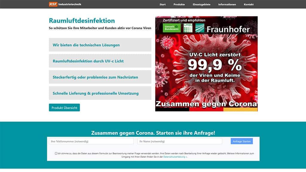 Webdesign Referenz Raumluftdesinfektion